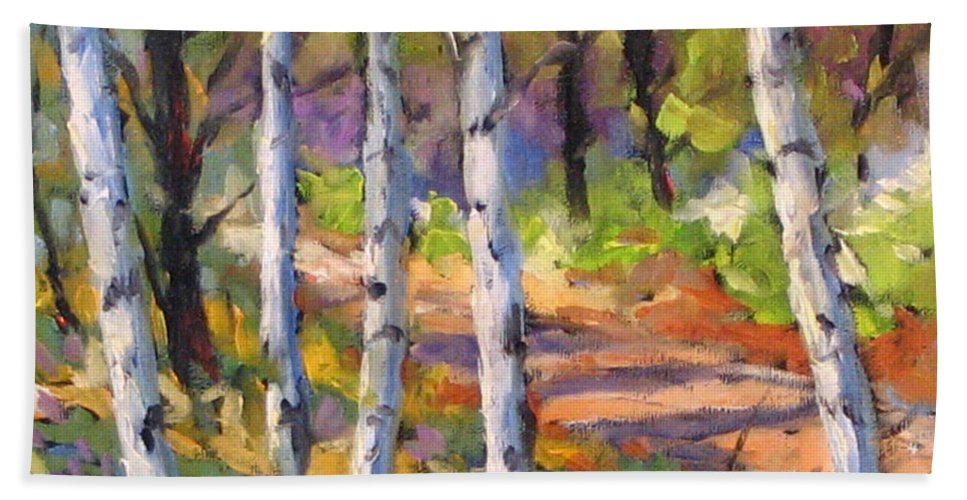 Art Bath Towel featuring the painting Birches 02 by Richard T Pranke