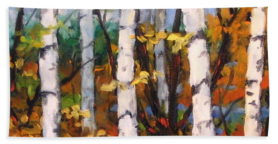 Art Bath Towel featuring the painting Birches 03 by Richard T Pranke