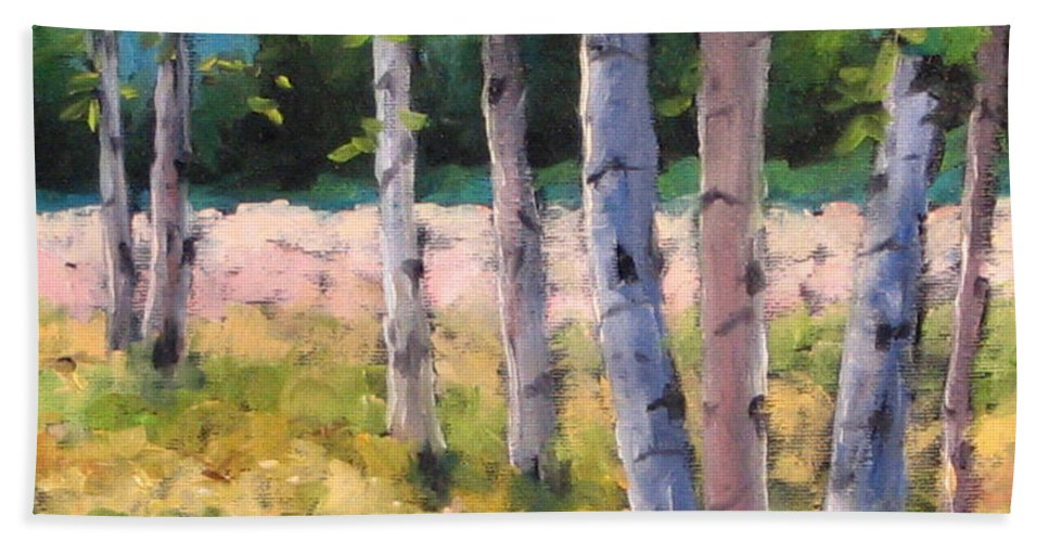 Art Hand Towel featuring the painting Birches 04 by Richard T Pranke