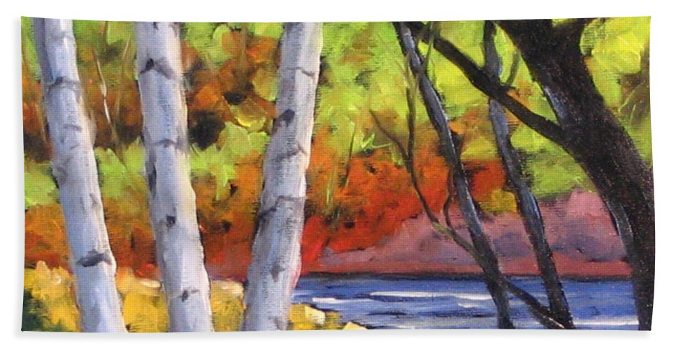 Art Bath Towel featuring the painting Birches 06 by Richard T Pranke
