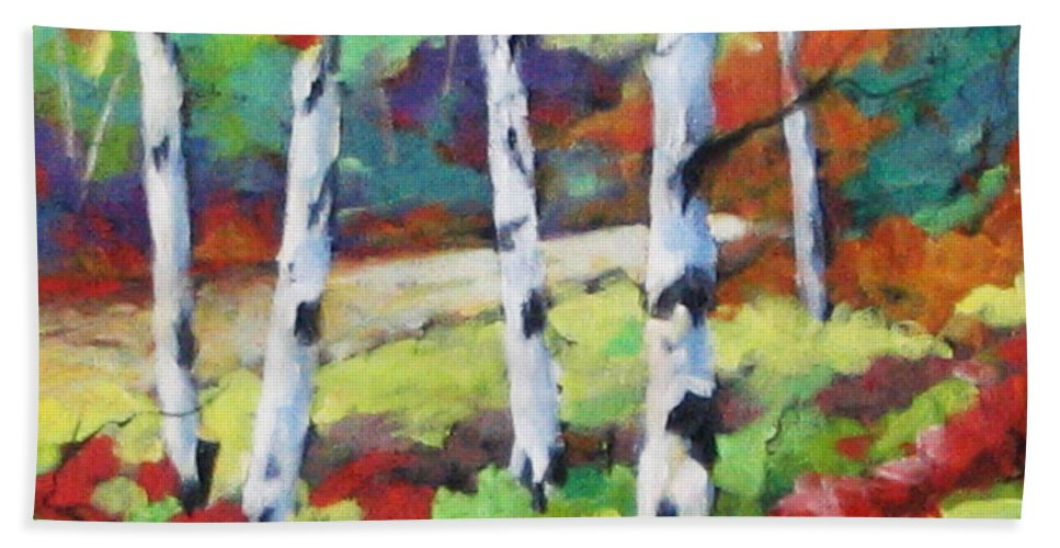 Art Bath Towel featuring the painting Birches 07 by Richard T Pranke