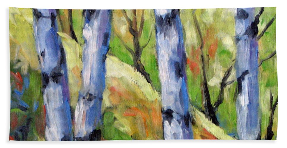 Art Hand Towel featuring the painting Birches 09 by Richard T Pranke