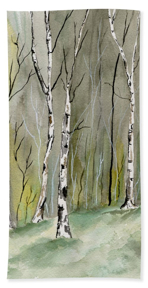 Landscape Bath Towel featuring the painting Birches Before Spring by Brenda Owen