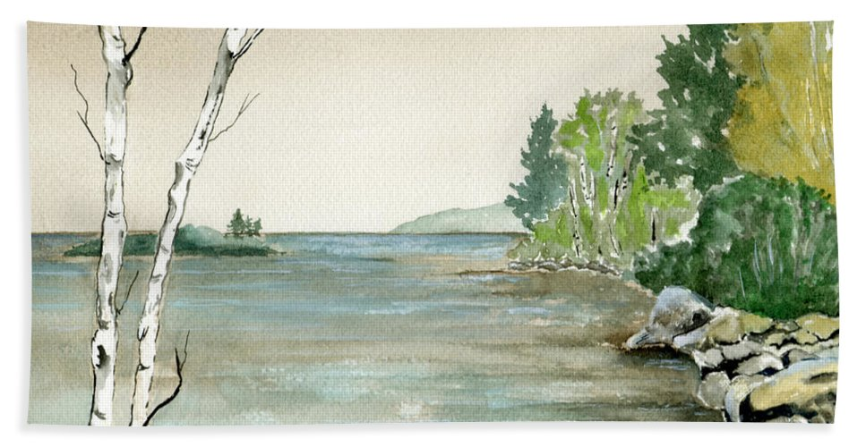 Landscape Watercolor Birches Trees Lake Pond Water Sky Rocks Hand Towel featuring the painting Birches By The Lake by Brenda Owen