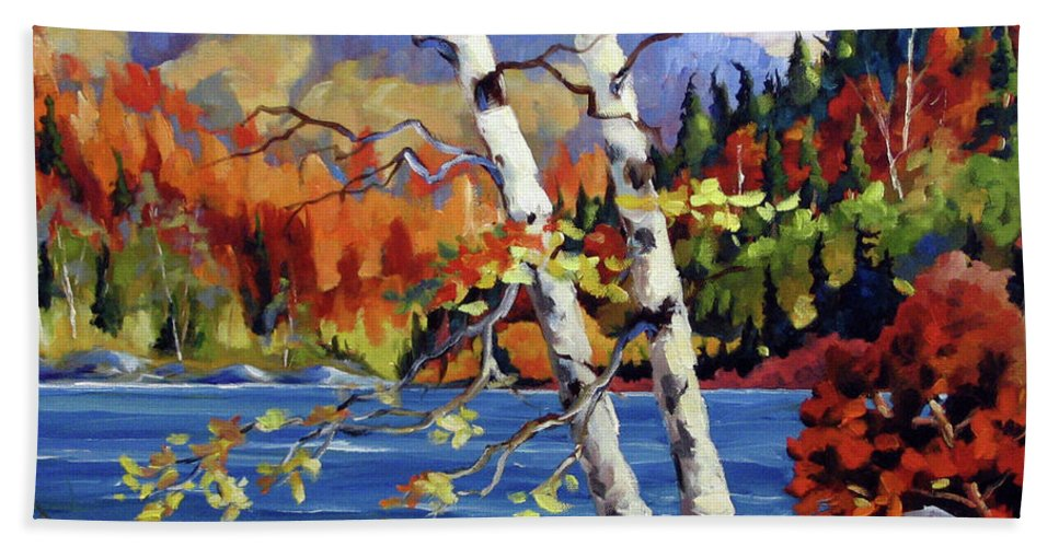 Art Bath Towel featuring the painting Birches By The Lake by Richard T Pranke