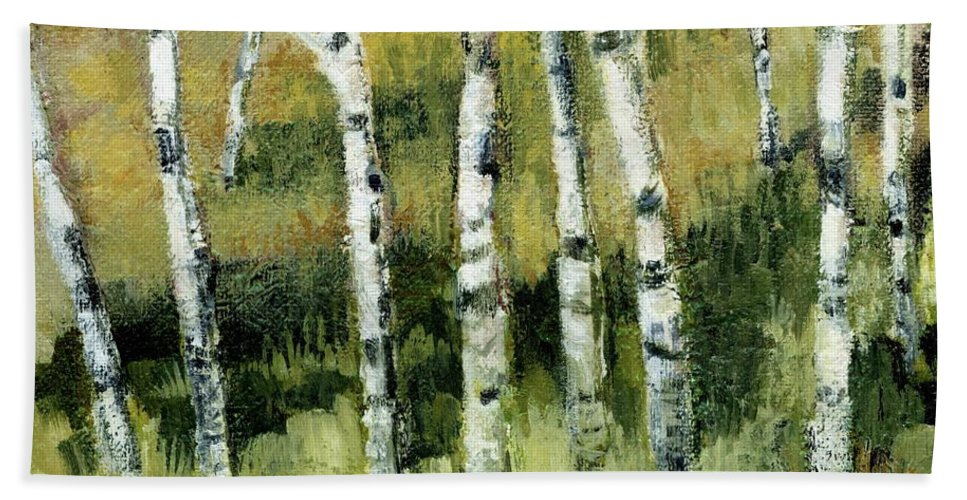 Trees Hand Towel featuring the painting Birches On A Hill by Michelle Calkins