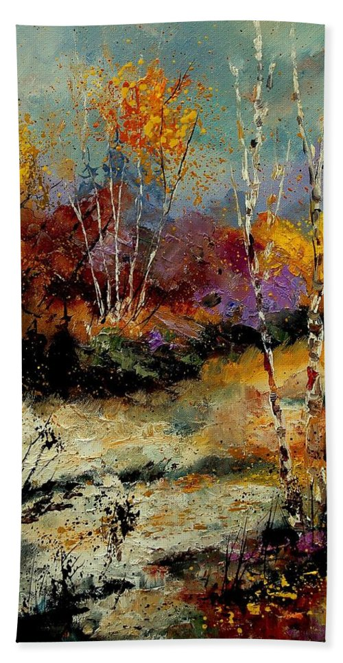 Tree Hand Towel featuring the painting Birchtrees 459090 by Pol Ledent