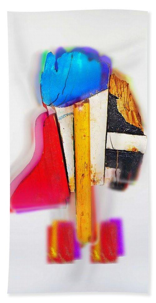 Dude Bath Sheet featuring the digital art Bird Dude by Charles Stuart