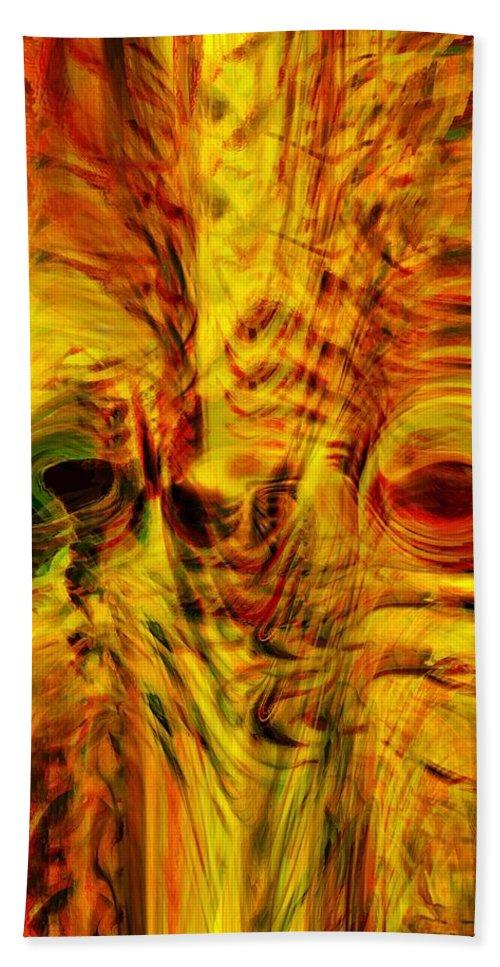 Abstract Art Hand Towel featuring the digital art Bird Face by Linda Sannuti