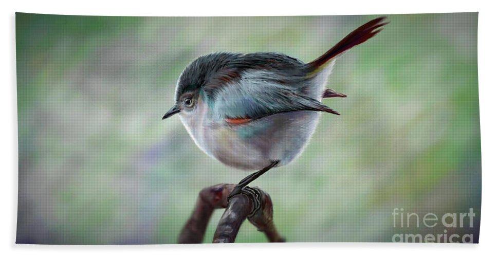 Bird Painting Artwork Bath Sheet featuring the digital art Bird by Georgi Shterev