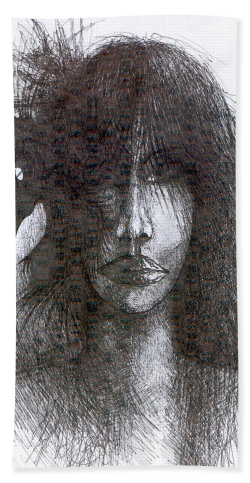 Psychedelic Hand Towel featuring the drawing Bird In Hair by Wojtek Kowalski