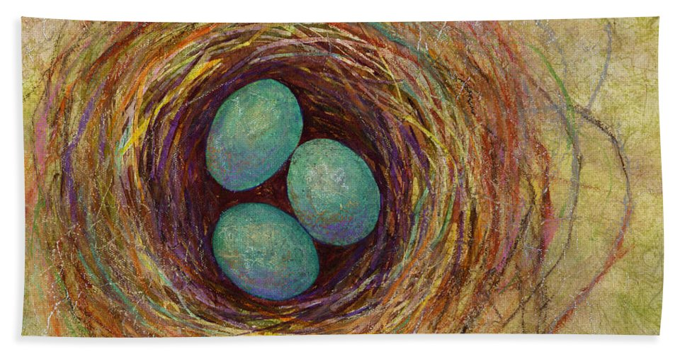 Eggs Bath Towel featuring the painting Bird Nest by Hailey E Herrera