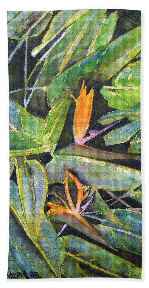 Flower Bath Sheet featuring the painting Bird Of Paradise 2 by Derek Mccrea