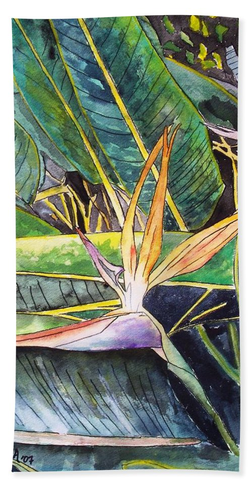 Watercolor Hand Towel featuring the painting Bird of Paradise by Derek Mccrea