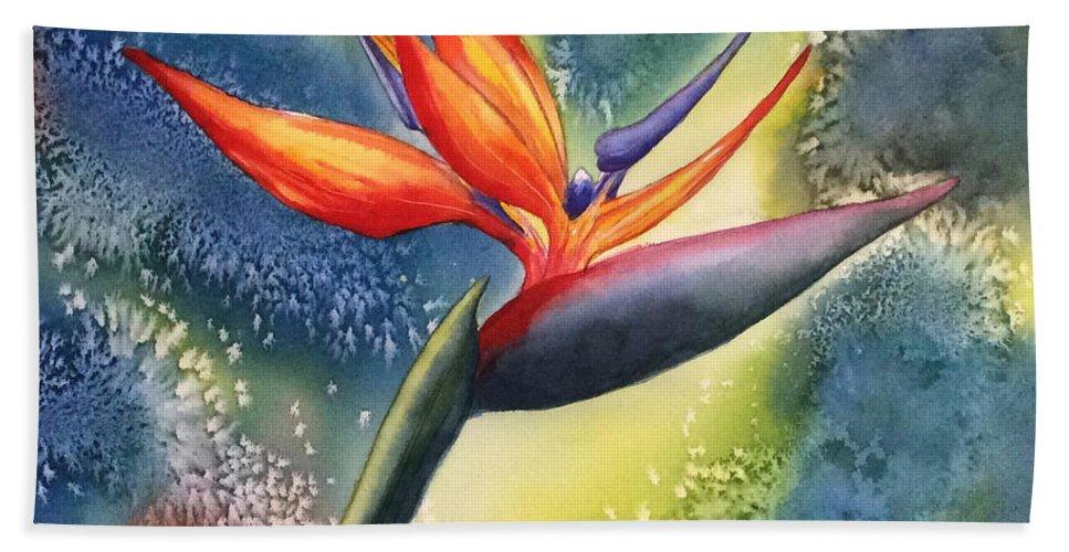 Bird Of Paradise Flower Bath Sheet featuring the painting Bird Of Paradise Flower by Hilda Vandergriff