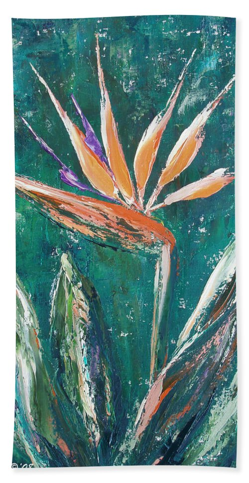 Bird Of Paradise Hand Towel featuring the painting Bird Of Paradise by Gina De Gorna