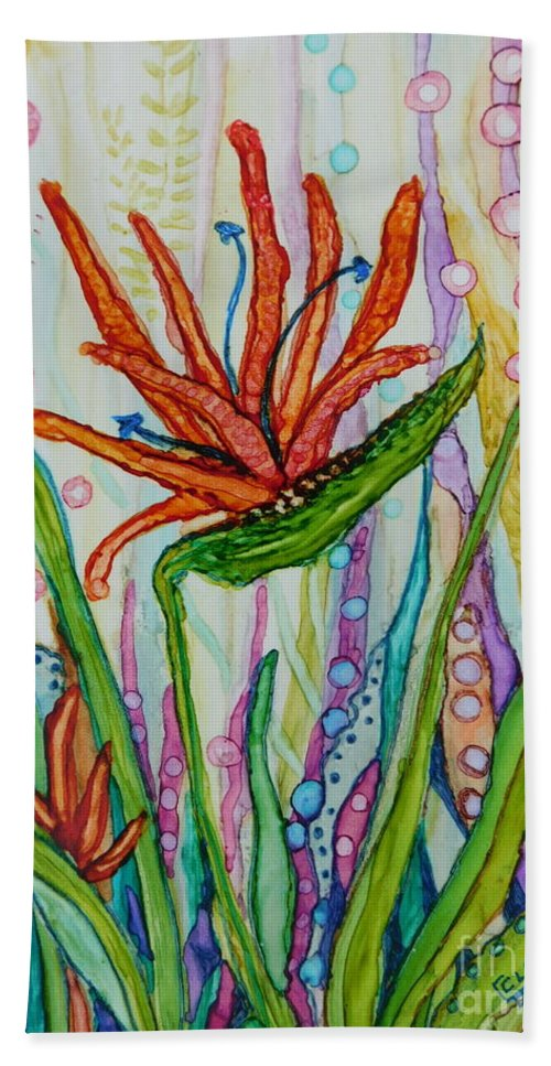 Bold Painting Of A Bird Of Paradise Bloom In An Imaginary Hand Towel featuring the painting Bird Of Paradise In An Imaginary Garden by Joan Clear
