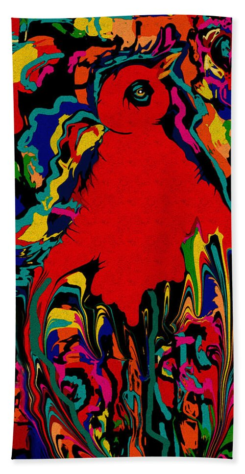 Bird Of Paradise Hand Towel featuring the mixed media Bird Of Paradise by Natalie Holland