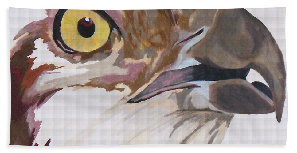 Osprey Hand Towel featuring the painting Bird Of Prey Osprey by Steve Teets