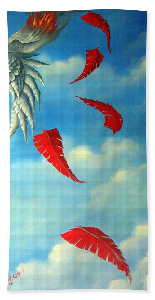 Surreal Bath Towel featuring the painting Bird On Fire by Valerie Vescovi