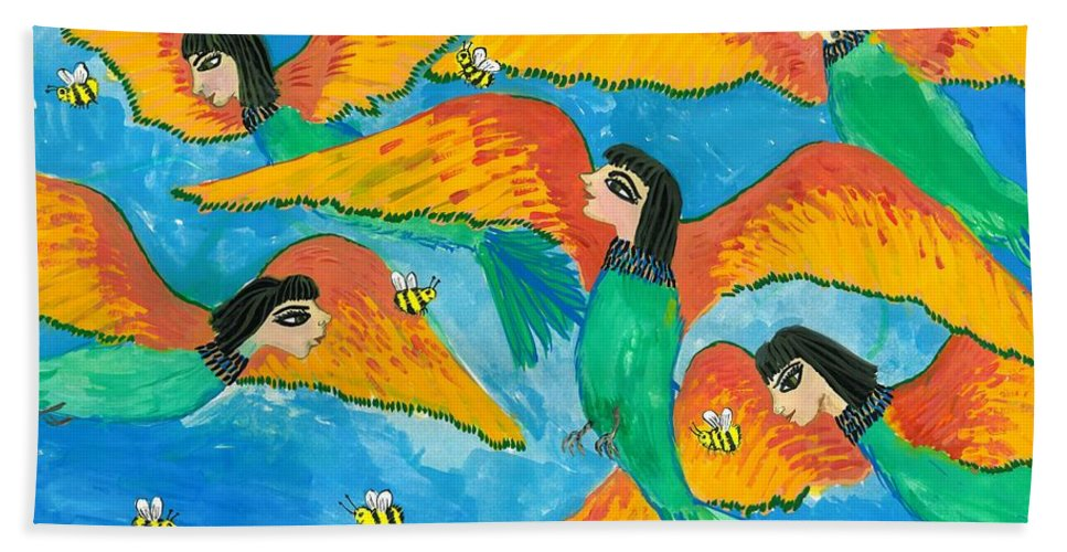 Sue Burgess Hand Towel featuring the painting Bird People Little Green Bee Eaters Of Upper Egypt by Sushila Burgess