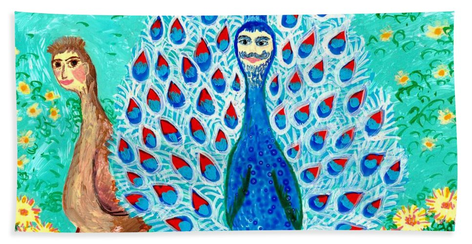 Sue Burgess Bath Sheet featuring the painting Bird People Peacock King And Peahen by Sushila Burgess
