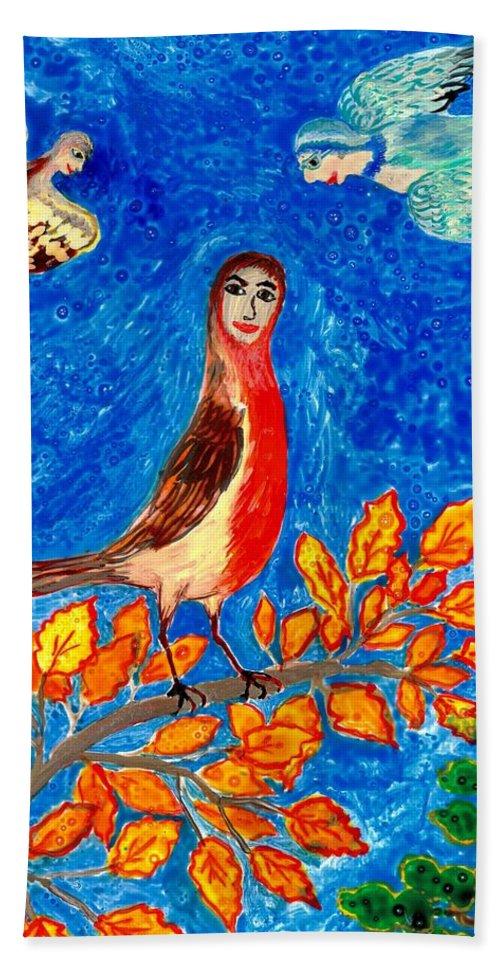 Sue Burgess Bath Sheet featuring the painting Bird People Robin by Sushila Burgess