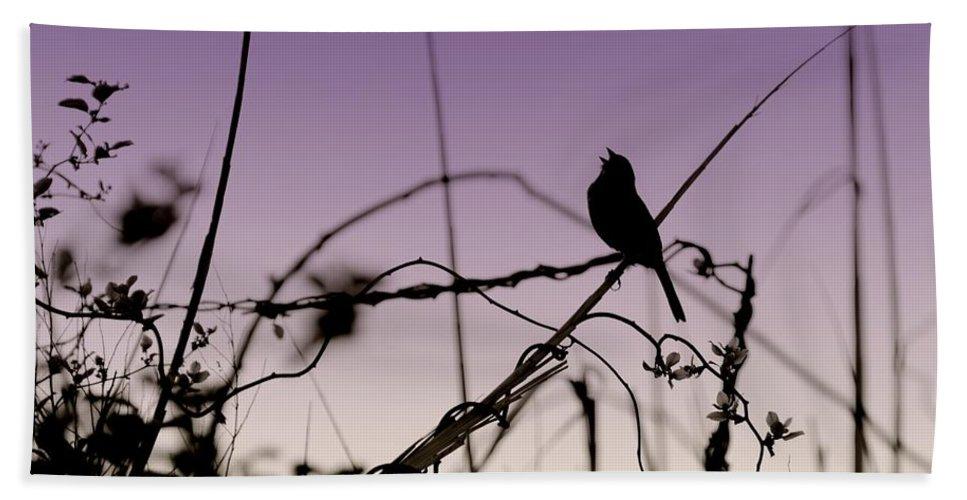 Silhouette Bath Sheet featuring the photograph Bird Sings by Angie Tirado