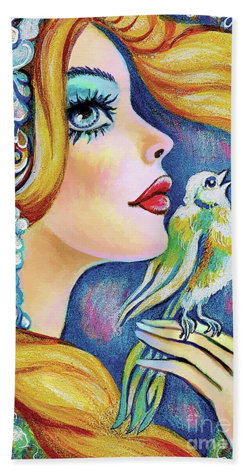 Bird Woman Hand Towel featuring the painting Bird Song by Eva Campbell