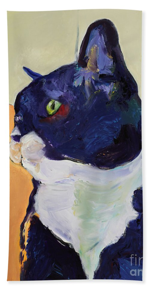 Cat Portrait Bath Sheet featuring the painting Bird Watcher by Pat Saunders-White