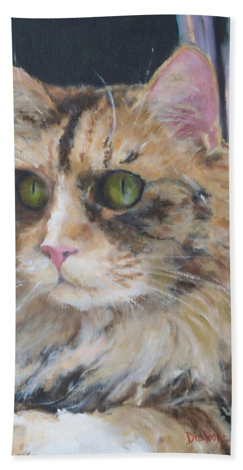 Feline Hand Towel featuring the painting Bird Watching by Alicia Drakiotes