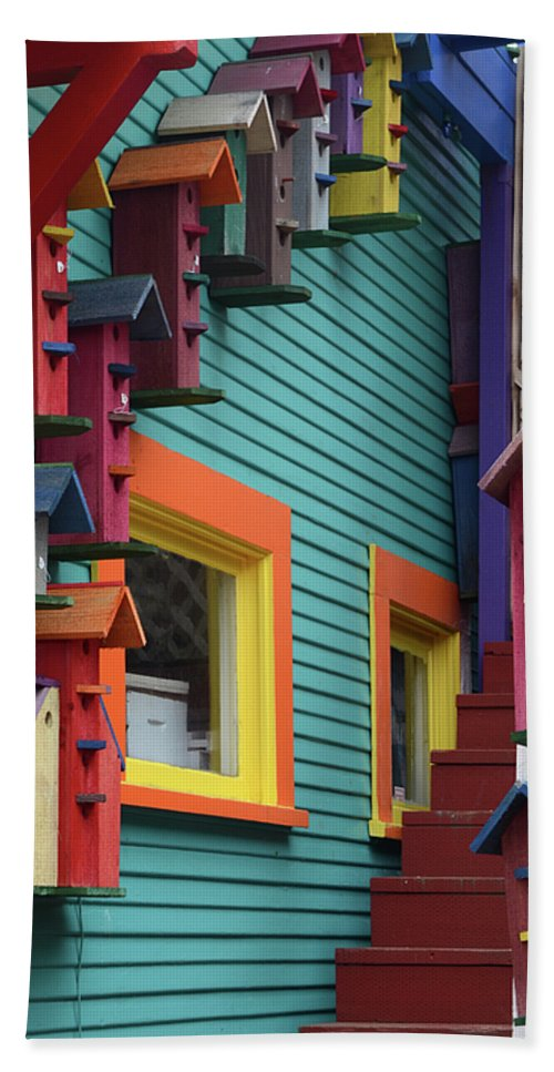 Birdhouse Bath Sheet featuring the photograph Birdhouses For Colorful Birds 3 by Bob Christopher