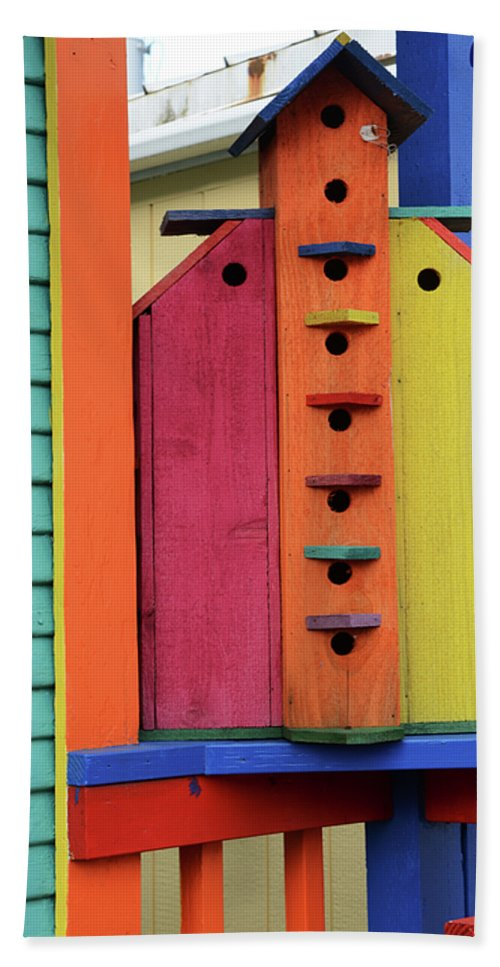 Birdhouse Bath Sheet featuring the photograph Birdhouses For Colorful Birds 5 by Bob Christopher
