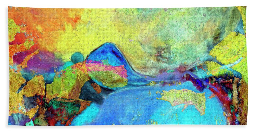 Abstract Hand Towel featuring the painting Birdland by Dominic Piperata