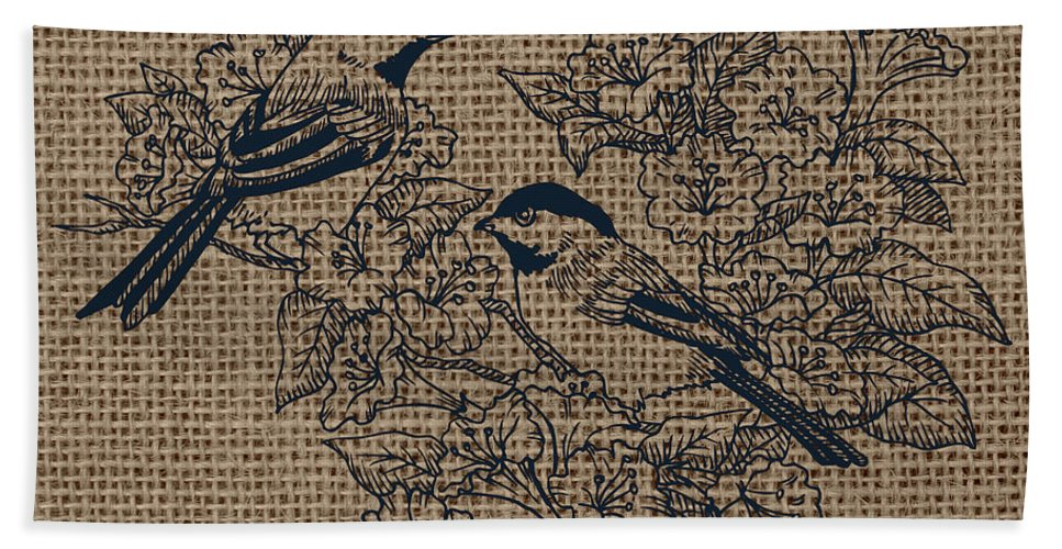 Brandi Fitzgerald Bath Sheet featuring the digital art Birds And Burlap 1 by Brandi Fitzgerald
