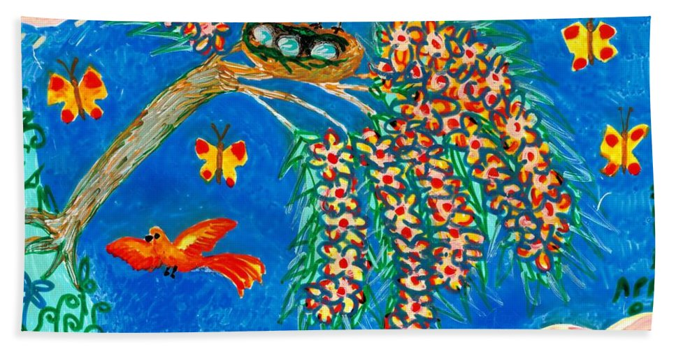 Sue Burgess Bath Sheet featuring the painting Birds And Nest In Flowering Tree by Sushila Burgess