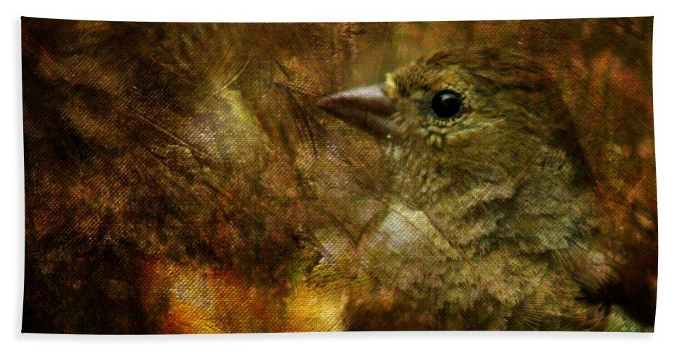Sparrow Hand Towel featuring the photograph Birds by Angel Ciesniarska