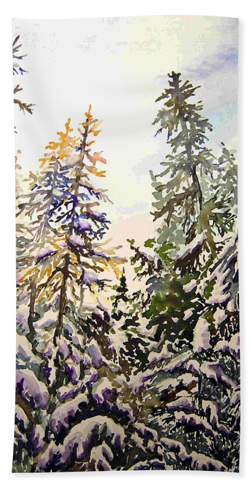 Birds Hill Provincial Park Manitoba Evergreens In Winter Bath Towel featuring the painting Birds Hill Park One Late Afternoon In January by Joanne Smoley