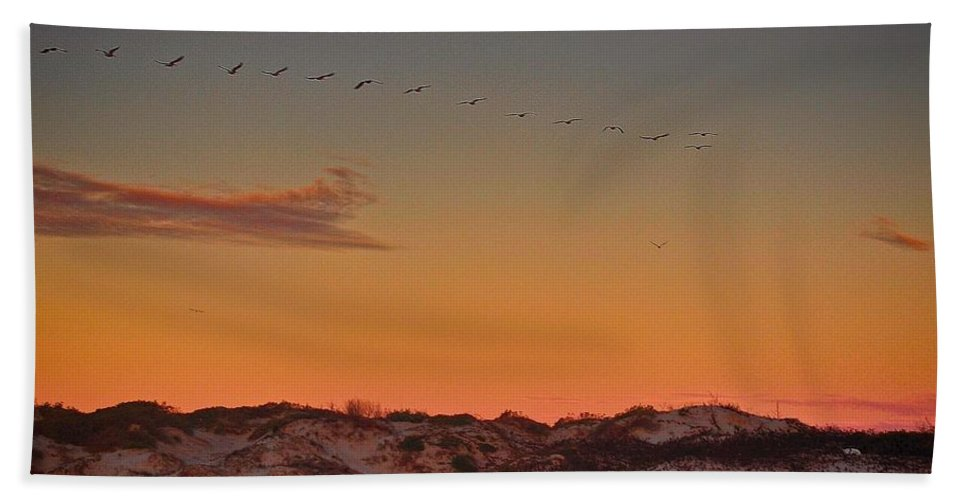 Sand Dunes Hand Towel featuring the photograph Birds In Flight At Sunrise by Kristina Deane