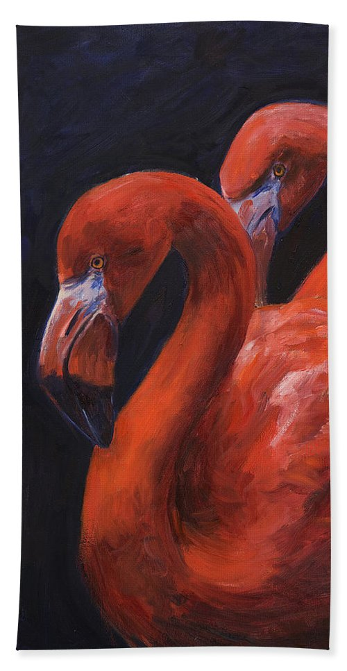 Flamingos Hand Towel featuring the painting Birds Of A Feather by Billie Colson