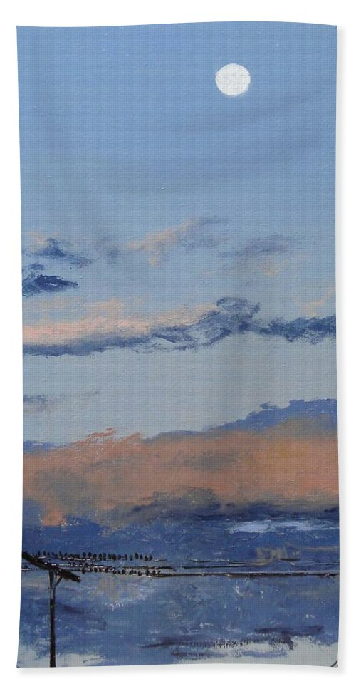 Landscape Bath Towel featuring the painting Birds On A Wire by Barbara Andolsek