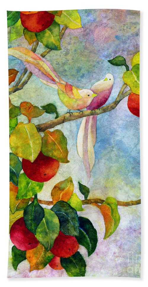 Birds Bath Towel featuring the painting Birds On Apple Tree by Hailey E Herrera