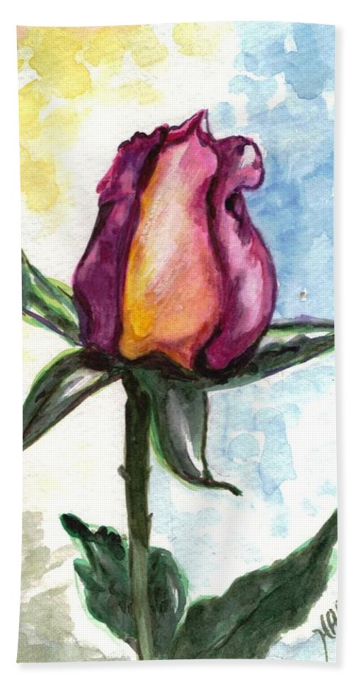 Flowers Hand Towel featuring the painting Birth Of A Life by Harsh Malik