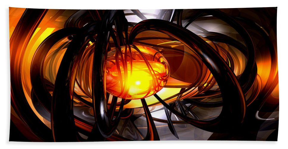3d Hand Towel featuring the digital art Birth Of A Sun Abstract by Alexander Butler