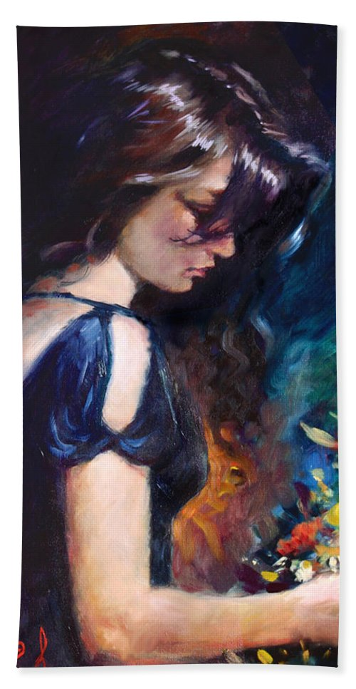 Portrait Hand Towel featuring the painting Birthday Girl by Ylli Haruni