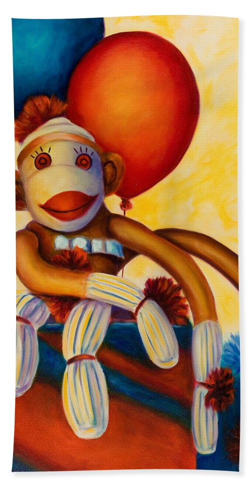 Sock Monkey Brown Bath Sheet featuring the painting Birthday Made Of Sockies by Shannon Grissom