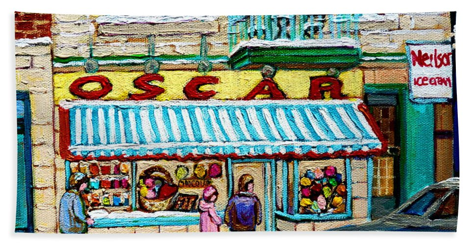Biscuiterie Oscar Bath Towel featuring the painting Biscuiterie Oscar Rue Ontario by Carole Spandau