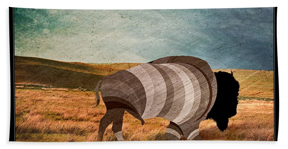 Bison Hand Towel featuring the digital art Bison by Nick Eagles