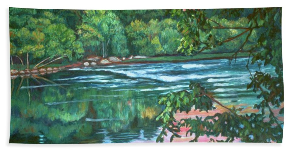River Hand Towel featuring the painting Bisset Park Rapids by Kendall Kessler