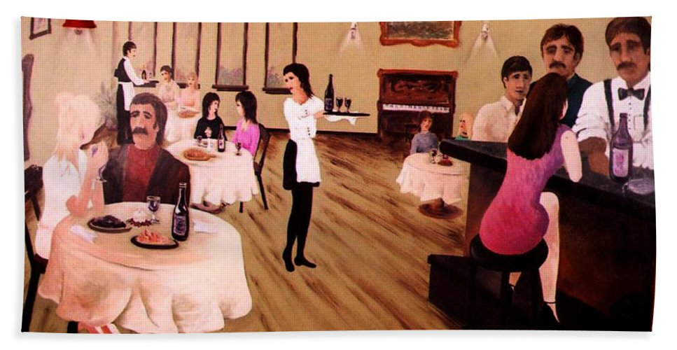 Mural Bath Sheet featuring the painting Bistro Mural Detail 4 by Rachel Christine Nowicki